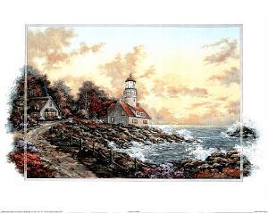 Sunset Cove Lighthouse Art Print POSTER Motivational