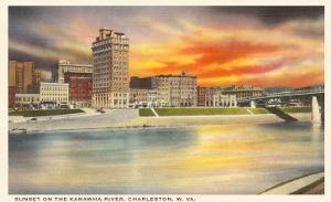 Sunset on Kanawha River, Charleston, West Virginia