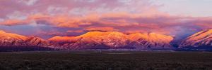 Sunset over Mountain Range, Sangre De Cristo Mountains, Taos, Taos County, New Mexico, Usa