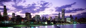 Sunset, Sky, Skyline, Twilight, Downtown, City Scene, Loop, Chicago, Illinois, USA
