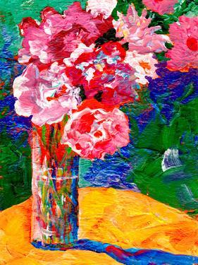 Pink Flowers Blue Background by Sunshine Taylor