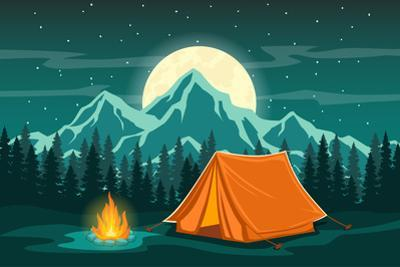 Family Adventure Camping Evening Scene. Tent, Campfire, Pine Forest and Rocky Mountains Background, by SunshineVector