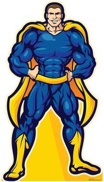 Super Hero In Blue Lifesize Standup