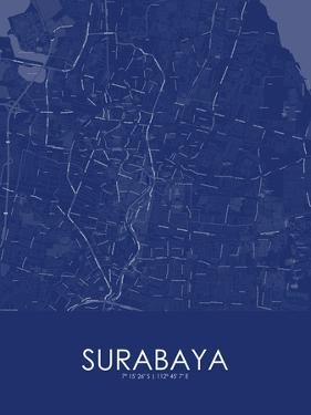 Surabaya, Indonesia Blue Map