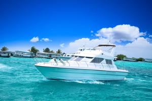 Luxury Yatch in Beautiful Ocean by SurangaWeeratunga