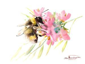 Bee And Soft Pink Flowers by Suren Nersisyan