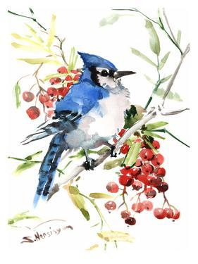 Blue Jay And Berries by Suren Nersisyan