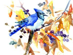 Blue Jay And Fall by Suren Nersisyan