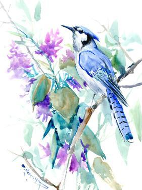 Blue Jay And Pink Purple Flowers by Suren Nersisyan