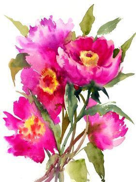 Bright Pink Peony Flowers by Suren Nersisyan