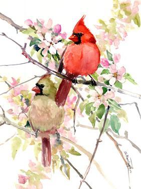 Cardinal Birds In Spring by Suren Nersisyan