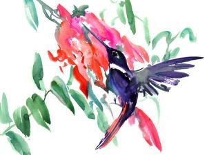 Flying Hummingbird And Pink Flowers by Suren Nersisyan