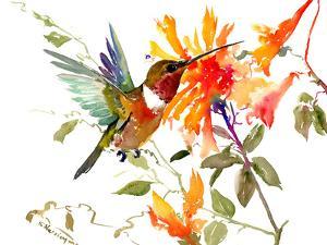 Hummingbird And Orange Flowers by Suren Nersisyan