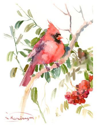 Northern Cardinal And Berries by Suren Nersisyan