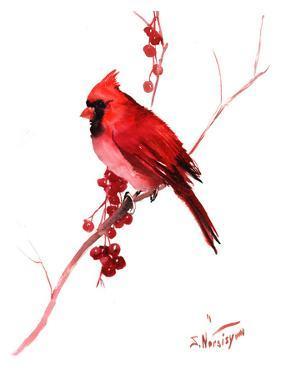 Red Cardinal Bird by Suren Nersisyan