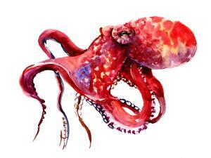 Red Octopus Cherry Color 1 by Suren Nersisyan