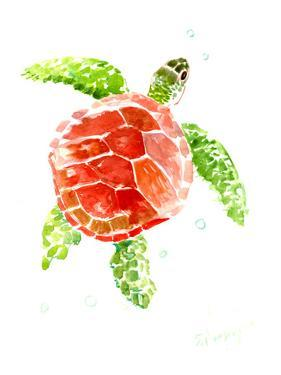 Sea Turtle Red-Green by Suren Nersisyan