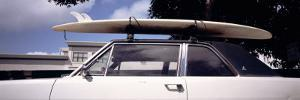 Surf Board on Roof of Car, California, USA