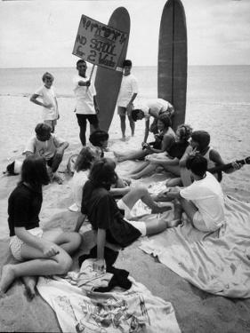 Surf Boards on Beach with Students Shut Out of School by Ft. Lauderdale Teacher Strike