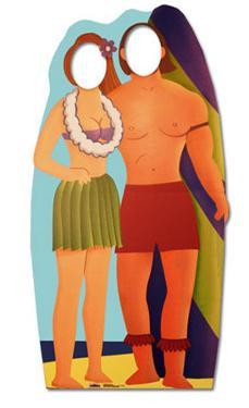 Surfboard Couple Lifesize Stand-In