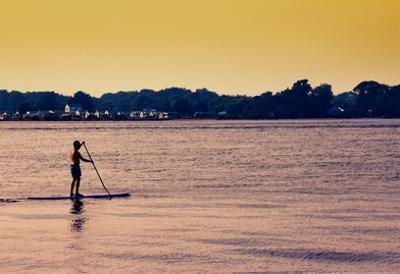 Surfer Paddling Shelter Island NY Color