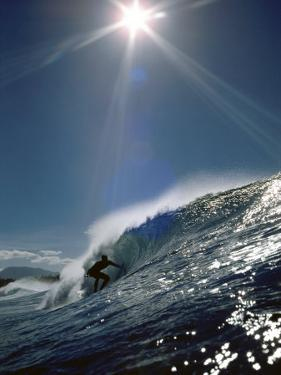 Surfer Silhouette with Sunburst