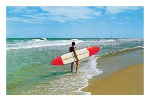 Surfer with Long Board, Retro
