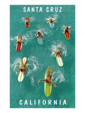 Surfers from Above, Santa Cruz, California