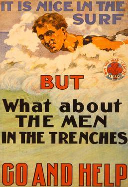 Surfers Help Men in Trenches War Propaganda Vintage Ad Poster Print