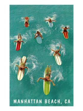Surfers Paddling, Manhattan Beach