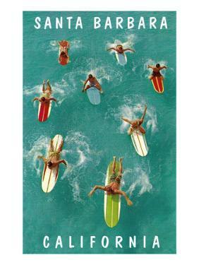Surfers Paddling, Santa Barbara, California