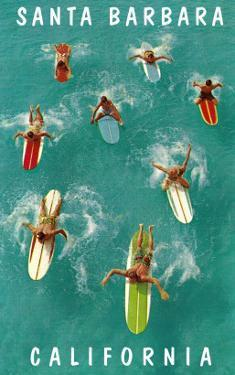 Surfers Paddling, Santa Barbara, California