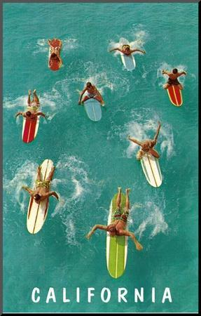 Surfers with Colorful Boards, California