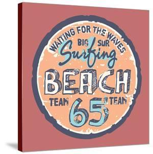Surfing Beach Vintage Label