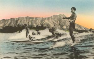 Surfing in Hawaii by Diamond Head