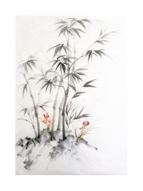 Watercolor Painting of Bamboo and Orchids by Surovtseva