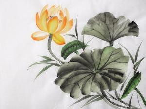 Watercolor Painting Of Yellow Lotus Flower by Surovtseva