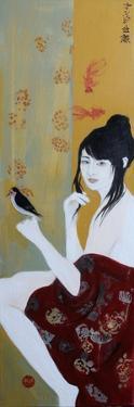 Japanese Lady with Bird, 2015 by Susan Adams