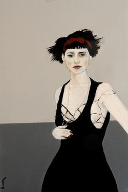 Lady in Black with Red Headband, 2016 by Susan Adams