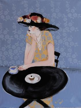 Lady Seated at Table in Black Hat with Flowers, 2015 by Susan Adams