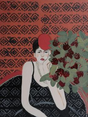 Lady with Red Hat and Red Roses, 2015 by Susan Adams