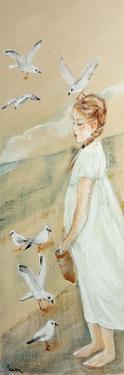 Little Girl Feeding Seagulls, 2016 by Susan Adams