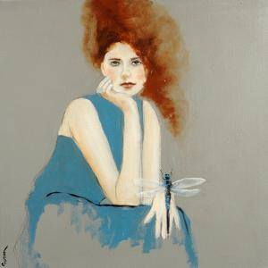 Redhead in Blue Dress with Dragonfly, 2016 by Susan Adams