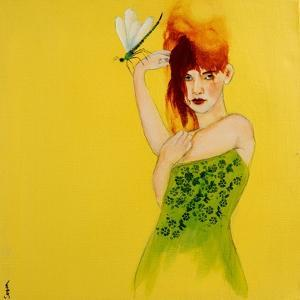 Redhead in Green Dress with Dragonfly, 2016 by Susan Adams