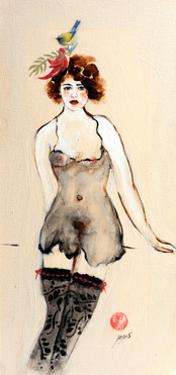 Seated Nude in Black Stockings with Flower and Bird, (I) 2015 by Susan Adams
