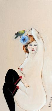 Seated Nude in Black Stockings with Flower and Bird, (II) 2015 by Susan Adams