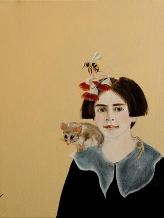 Young Frida with Mountain Pygmy Possum, 2017 by Susan Adams