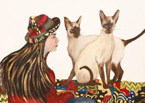 Young women with Siamese Cats by Susan Adams