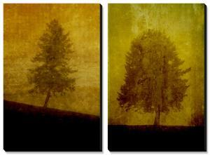 Lonesome Trees on Textured Yellow by Susan Bein