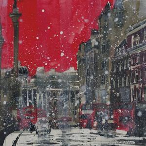 Snow Storm Towards Trafalgar Square by Susan Brown